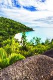 Панорамный обзор к georgette anse пляжа рая, praslin, se Стоковые Фотографии RF