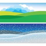 Панорамный простой ландшафт бесплатная иллюстрация