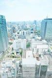 Панорамный современный взгляд здания городского пейзажа Нагои, Японии Иллюстрация эскиза смешивания нарисованная рукой стоковая фотография