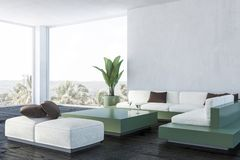 Панорамный угол живущей комнаты, зеленая таблица иллюстрация штока