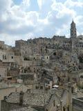 Панорамный Matera Базиликата в южном ` s Италии Apulia итальянском романтичном Sassi Мела Гибсона страсть Христоса стоковая фотография rf