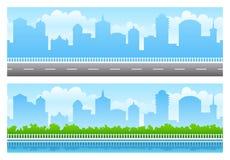 панорамы города безшовные иллюстрация вектора