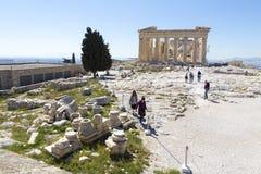 Пантеон на акрополе в Афинах Стоковые Фотографии RF