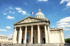Пантеон с голубым небом: Одна из известной привлекательности для туриста в Париже, Франция Стоковая Фотография RF