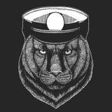 Пантера, пума, кугуар, одичалая печать вектора кота для детей Capitan, животное пирата Храбрый матрос Дизайн для детского сада иллюстрация штока