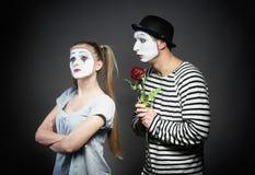 Пантомима в влюбленности стоковая фотография rf