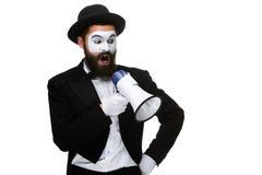 Пантомима как бизнесмен с мегафоном Стоковое Фото