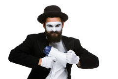 Пантомима как бизнесмен с мегафоном Стоковая Фотография