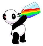 Панда выпивает радугу иллюстрация штока