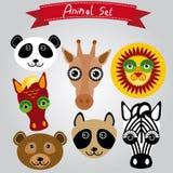 Панда животного вектора установленная, жираф, лев, лошадь, медведь, енот, зебра Стоковые Фотографии RF