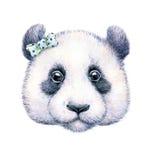 Панда на белой предпосылке банкы рисуя цветя замотку акварели валов реки иллюстрация s детей Ручная работа Стоковые Фото