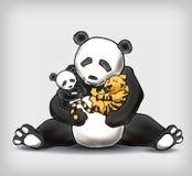 Панда сидя с ее ребенком и маленьким illust вектора тигра младенца Стоковые Изображения