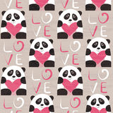Панда с картиной сердца безшовной Стоковая Фотография