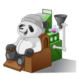 Панда с машиной мозга иллюстрация штока