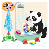 Панда шаржа в ванной комнате иллюстрация вектора