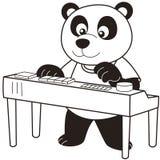 Панда шаржа играя электронный орган иллюстрация вектора