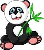 Панда шаржа счастливая держа бамбук Стоковые Фото