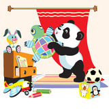 Панда шаржа с игрушками иллюстрация штока
