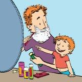 Папа бреет вахты сына Стоковые Фотографии RF