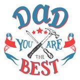 Папа вы самая лучшая поздравительная открытка Дня отца Стоковое Изображение RF
