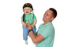 Папа держит младенца стоковые изображения