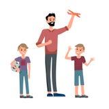 Папа и его сыновьья бесплатная иллюстрация