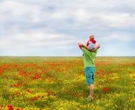 Папа и сын в поле стоковая фотография rf