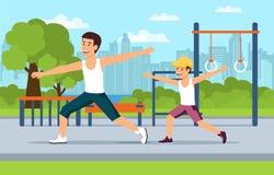 Папа и сын шаржа делают спорт совместно бесплатная иллюстрация