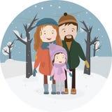 Папа, мать и младенец outdoors Портрет зимы семьи иллюстрация вектора