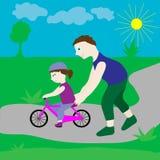 Папа с его дочерью и велосипедом Стоковое Изображение RF