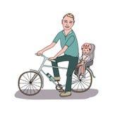 Папа с младенцем идет велосипедом иллюстрация штока