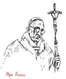 Папа Фрэнсис Джордж Марио Bergoglio, Папа римско-католической церков с крестом бесплатная иллюстрация