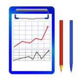 Папка с зажимом с диаграммой с чернотой стрелки красной и цвет рисуют и пишут Стоковые Фотографии RF