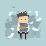 Папки и бумага нося бизнесмена падая вниз иллюстрация вектора