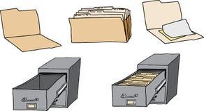 Папки и ящик для хранения карточк Стоковые Фотографии RF