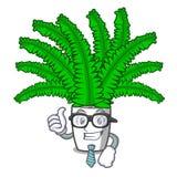 Папоротники шаржа бизнесмена красивые в зеленой листве иллюстрация штока