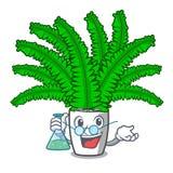 Папоротники шаржа профессора красивые в зеленой листве иллюстрация штока