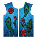 Папоротник, павлин пера и цветки мака вышили стикерам Вектор вышивки Стоковые Изображения RF