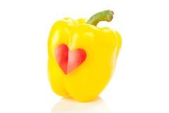 Паприка с красным сердцем стоковое изображение rf