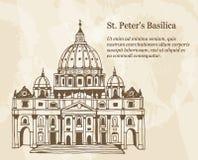 Папская базилика St Peter в Ватикане, Италии, иллюстрации руки вычерченной с текстом указателя места заполнения иллюстрация вектора