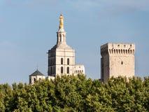 Папский дворец, исторический дворец расположенный в Авиньоне, южной Франции Оно одно из самое большое и самое важное средневеково стоковая фотография