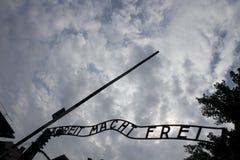 Парадные ворота Освенцима стоковые изображения rf