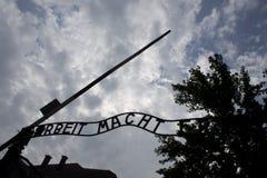 Парадные ворота Освенцима стоковое фото rf