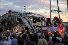 Парад в гавани St Tropez стоковое изображение
