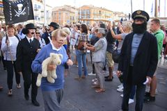 Парад в гавани St Tropez стоковые изображения rf