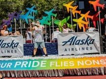 Парад гей-парада в авиакомпании fl Сан-Франциско - корпоративные Аляске Стоковая Фотография