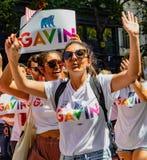 Парад гей-парада в Сан-Франциско - стороннике мэра Gavin Newsom Стоковые Фото
