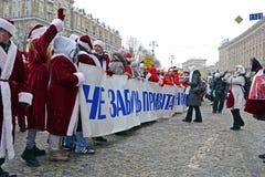 Парад Дед Мороз в Киев, Украин, Стоковые Фото
