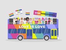 Парад LGBTQ гомосексуализм равность разнообразность Красочная шина двойной палуба иллюстрация вектора