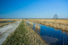 Параллель водяного канала к дороге стоковое изображение rf